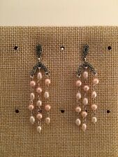 "Vintage Design Pearl Sterling Silver 925 Marcasite Post Pierced Earrings 2 1/8"""