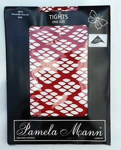 Pamela Mann Square Holes Tights One Size Red