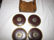 """Mobil Oil Flying Pegasus Brass Leather Coaster Wood Display Set Of (4) 3 3/4"""""""