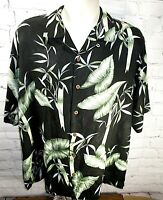 Tommy Bahama Mens Size Large Silk black Shirt Black copyrighted Floral Print