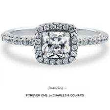 1.00 Carat Cushion DEF Moissanite Forever One Halo Style Ring (Charles&Colvard)