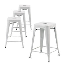 Set of Four White 24 In Metal Bar Stools, Indoor/Outdoor, Stackable