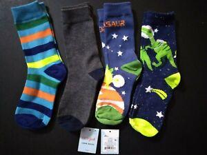 Cat & Jack Boys' 4pk Crew Socks STRIPED Multicolored Space size M shoe 9-2.5