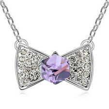 GORGEOUS 18 WHITE GOLD PLATED GENUINE PURPLE/CLEAR CUBIC ZIRCONIA BOW NECKLACE