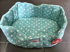 Dog Bed *Alice* Aqua / White Spots - Hand Made in England RRP £39.95