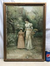 Vtg Victorian E. Percy Moran Print Mother Child Country Rd Shabby Cottage frame