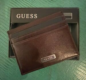 AUTHENTIC GUESS BROWN LEATHER CREDIT CARD HOLDER 7 DIVISIONS