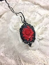 Victorian Goth RED ROSE CAMEO Antiqued BLACK Pendant Necklace Vampire Blood Red