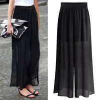 New Women Wide Leg Chiffon High Waist Casual Pants Long Loose Culottes Trousers