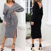Élégance Femme Casuel Col V Fendu Manche Longue Simple Droit Jupe Robe Plus