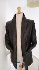 Agenda Black Leather Short Trench Coat Long Jacket Ladies Womens Size 14