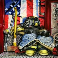 Full Drill DIY 5D Fireman Banner Diamond Painting Kits Art Embroidery Home Decor