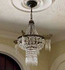 Antique Petite French Crystal Brass Beaded Chandelier Chinoiserie Pagoda