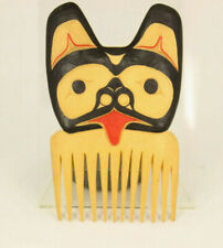 Hand Carved Wooden Bear Comb by Maury Clark, Nishga Tribe, British Columbia
