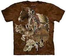 The Mountain Adult Unisex Graphic Tee, Wolf Spirit Warrior, 3XL