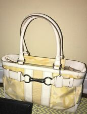 Coach F13337 Hamptons Optic Signature Stripe  Bag Carryall Shoulder Bag Yellow