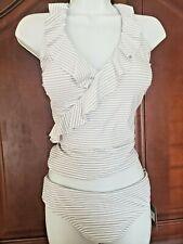 Nip Tuck Bond-Eye Silver Striped Tankini Tummy Control Women's Size 10 NEW