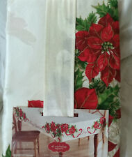 "60"" x 84"" Oblong Christmas Tablecloth Poinsettia Red Flowers Fabric"