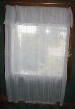 "LACE WHITE SHOWER CURTAIN GEOMETRIC DESIGN W/RUFFLE VALANCE 72"" X 72"""