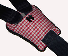 Red Gingham Buckle Cover-Car Seat-carrozzina-Seggiolone Harness Cintura Pad