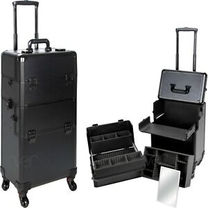 2 in 1 Professional Hair Stylist Rolling Cosmetic Makeup Train Case w/ Wheels