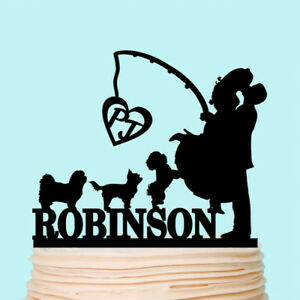 Fishing Cake Topper Wedding Kissing Couple Fisher Personalised Pet Dogs Cats