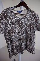 Karen Scott 100% Cotton Multi-Colored Floral Short Sleeve Knit Top Size - Large