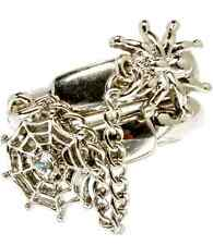 Two Ring Finger Crystal Spider & Spider Web With Chain Rings