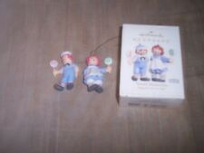 RAGGEDY ANN & ANDY---Christmas Ornament---Hallmark Keepsake---2pc
