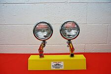 "5"" Round Clear Fog Lights & Brackets Vintage Pair Antique 12V"