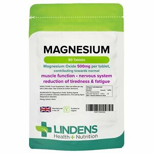 Magnesium (MgO 500mg) x 90 Tablets; Muscle Function, Fatigue; Lindens