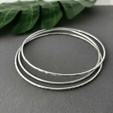 HANDMADE SOLID STERLING SILVER MIXED HAMMERED STACKING BANGLE SET X 3 S,M,L,XL