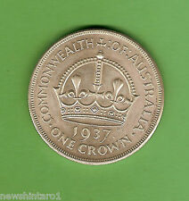 #D293. AUSTRALIAN 1937 STERLING SILVER CROWN, FIVE SHILLING COIN
