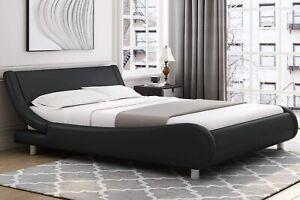 Modern Leather Adjustable Headboard Deluxe Upholstered Sleigh Platform Bed Frame