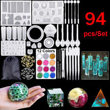 94pcs/Set Epoxy Resin Casting Silicone Mold Kit Jewelry Making Pendant Craft DIY
