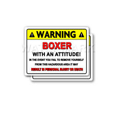 Boxer Warning Decal Attitude Guard Dog HardHat Window Bumper 2 pack Stickers mka