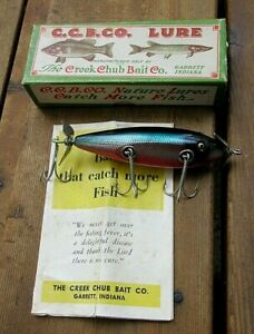 VINTAGE CREEK CHUB FLOATING INJURED MINNOW RED SIDE SCALE FISHING LURE ORIG BOX