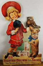 Buster Brown Blue Ribbon Shoes Wild Eyed Girl Dog Heavy Duty Metal Adv Sign