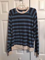 Lucky Brand Mens Long Sleeve Black blue Distressed Stripe Shirt Size Medium