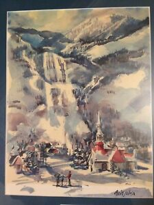 Cecile Johnson framed watercolor print Mt. Tremblant / Skiing/Landscape