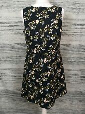 New Look Black Floral A line Sleeveless Dress Size 14