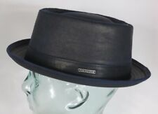 STETSON PORK PIE Hut co/pe used look Trilby Hat blau 1611501 Odenton NEU