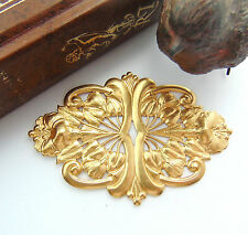 BRASS Art Nouveau Scrolling Leaf & Flowers Stamping ~ Jewelry Finding (FC-2)