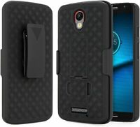 For Motorola Moto Droid Turbo 2 Case, Belt Clip Holster Phone Cover + Kickstand