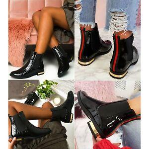 Womens Chelsea Ankle Boots Ladies Flat Black Patent Stripe Gusset Shoes Size 3-8