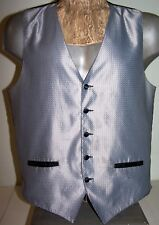 "Sz M GRAY SATIN VEST Men's 5-Button Black-Lining & Back NEIL ALLYN - 45"" Chest"