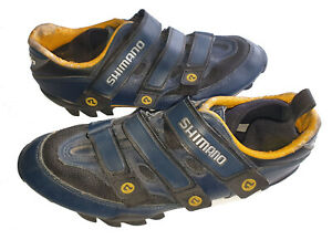 Men's SHIMANO Premium Navy Blue Leather CYLING SHOES Size 45T-46 UK 9.5-10