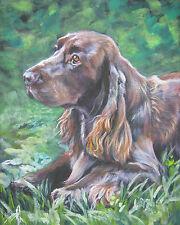 "Field Spaniel dog portrait art canvas Print of Lashepard painting 8x10"""