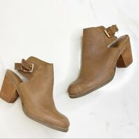Cole Haan Brown Leather Slingback Ankle Booties Stacked Block Heels Size 6