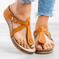 Women's Buckle Sandals Shoes Thong Flip Flops Flat T-Strap Summer Beach Slippers